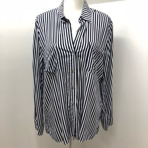 Just Living Srtriped Tab Sleeve Blouse Size XL